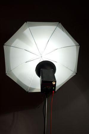 photographic strobe and umbrella Stock Photo