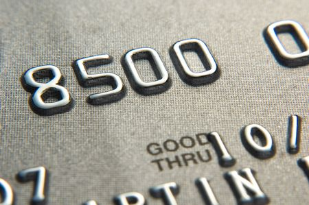 Close up of credit card showing partial numbers Stock Photo
