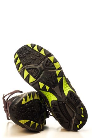 sole of running shoes on white background Stock Photo