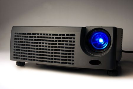 LCD projector with light on Stock Photo