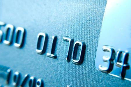 Close up of credit card showing partial numbers photo