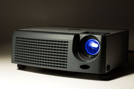 LCD projector in darkness with light on Stock Photo - 2863968