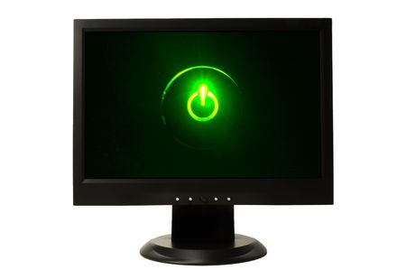 widescreen LCD monitor on white background with green power symbol Stock Photo - 3034112