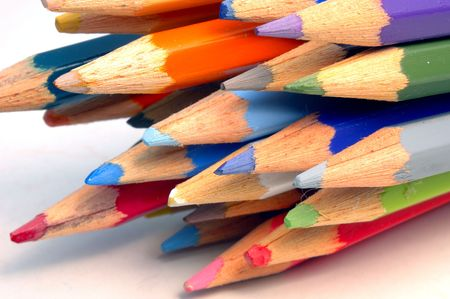closeup on color pencils on white background Stock Photo