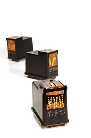 ink cartridges over white background photo