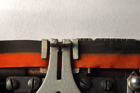 macro shoot of typewriter with blank page for copy text Stock Photo