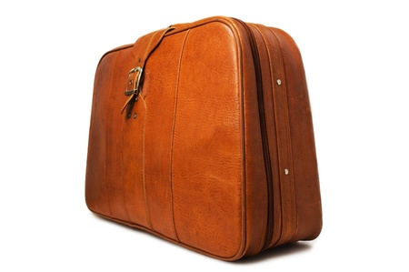 duffel: leather suitcase on white background