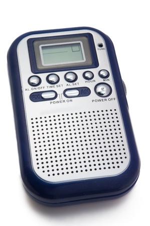 portable digital radio on white background
