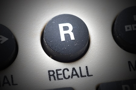 close up on phone recall button