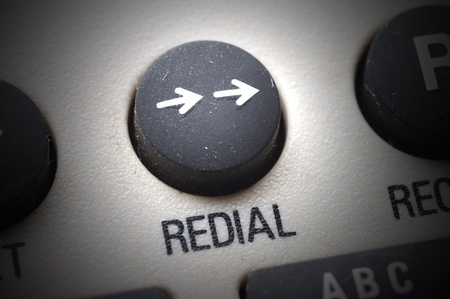 close up on phone redial button