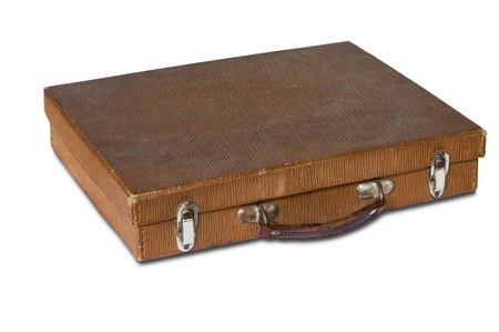 brown leather suitcase on white background Stock Photo