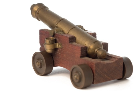 toy cannon on the white isolate background