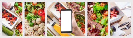 Female hand hold phone mockup screen use food boxes delivery service app banner. Standard-Bild