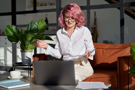 Young woman communicating by webcam conference working from home office.