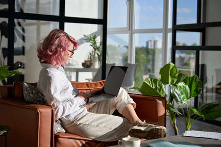 Creative stylish young woman pink hair using laptop sit on sofa at home office. Standard-Bild
