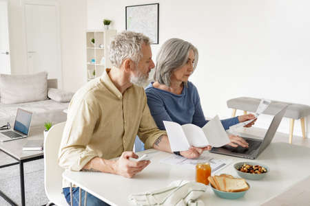 Middle aged couple paying financial bills online using computer at home.