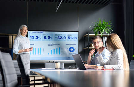 Mid age Asian female ceo presenting data to colleagues on big screen in office. 免版税图像