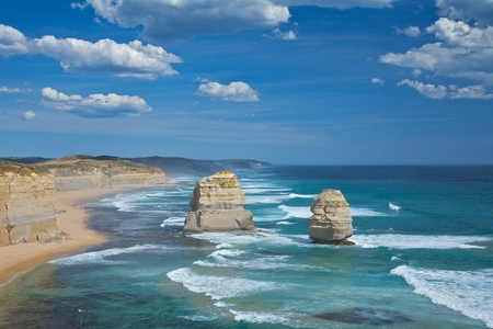coastal erosion: Twelve Apostles formation beside the great ocean road drive