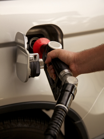 Gas of benzine tankstation Stockfoto