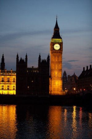 Big Ben at night in London, United Kigdom photo