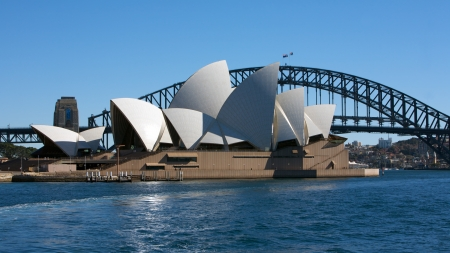 Sydney Opera House and the Harbor Bridge in Australia