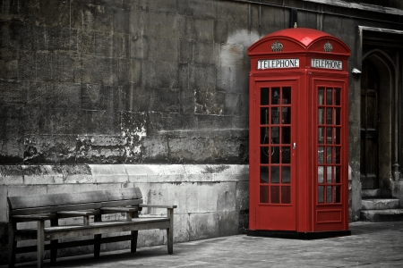 antique telephone: British Phone Booth in London, United Kingdom