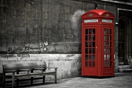 Britse Phone Booth in Londen, Verenigd Koninkrijk Stockfoto