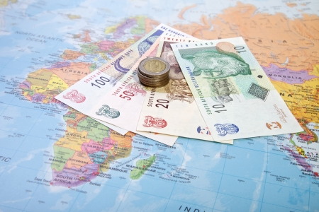 Rands notes and coins, South Africa  Stock Photo