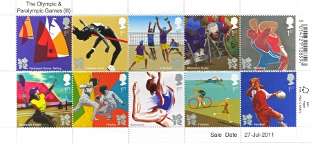 London, Olympics Games Stamps, 2012  LONDON - 27 July to 12 August 2012:  Collection of stamps for the London Olympic and paralympic games set of stamps in London, United Kingdom. Stamps printed 2011/07/27