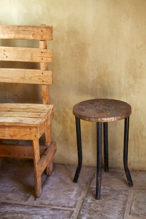 homestead: Rustic chair and table, homestead Stock Photo