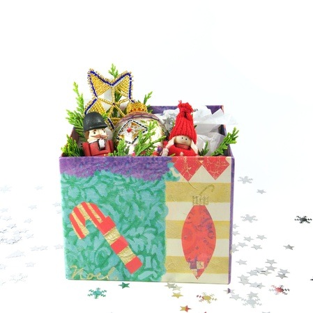 armed forces: Christmas decorations in a box, isolated