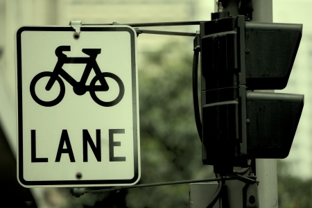 bicycle lane: Bicycle Sign in the City Stock Photo