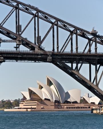 Sydney Opera House en de Harbor Bridge, Australië Redactioneel
