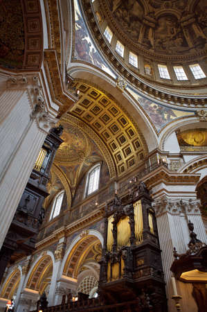 saint pauls cathedral: Church Interior With Ancient Fresco and Paintings in the Interior of the Dome of St Paul