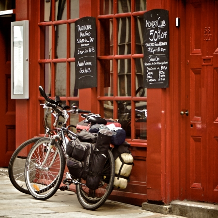 Bicycles on the British pub, Durham, United Kingdom Editorial