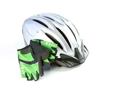rubber gloves: Biking Helmet with riding gloves, isolated