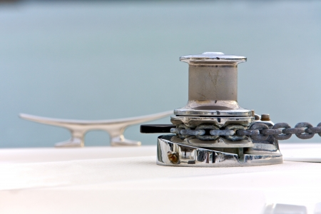 Boat winch in the harbour photo