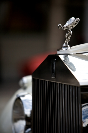 Classic Rolls Royce with the famous flying lady emblem mascot