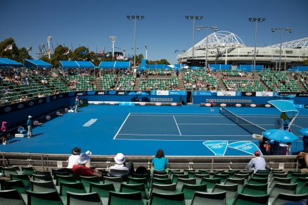 Australian Open Tennis Tournament, Rod Court Arena in the Background. Taken on the 25 January 2010  에디토리얼