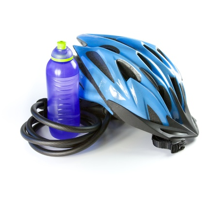 safe water: Biking Helmet with a water bottle, isolated
