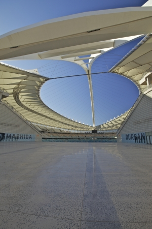 stadium  durban: One of the new stadiums built in preparation for the 2010 Fifa soccer world cup to be held in South Africa. In the city of Durban, the Moses Mabhida Stadium. Editorial