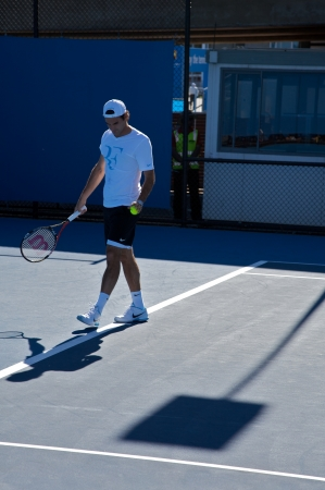 Melbourne: January 27. Roger Federer warm up session, played against  Lleyton Hewitt in the Australian Open 2010 on January 27, 2010 in Melbourne, Australia.