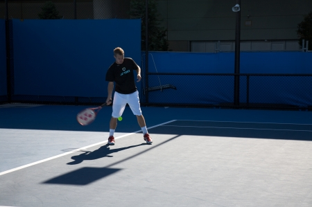 former: Melbourne: January 27. Lleyton Hewitt warm up session, played against  Roger Federer in the Australian Open 2010 on January 27, 2010 in Melbourne, Australia.