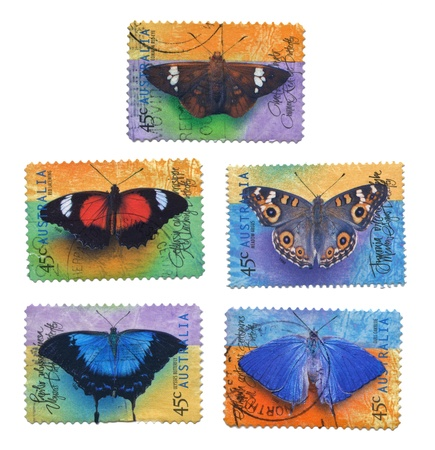 Collection of Butterfly Stamps, Australia Stock Photo - 15509406