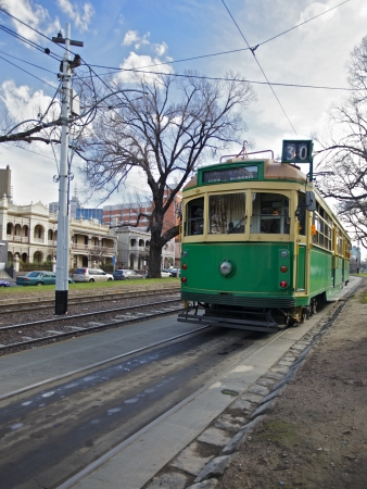 electric tram: Melbourne trams in the city Centre, Transportation Editorial