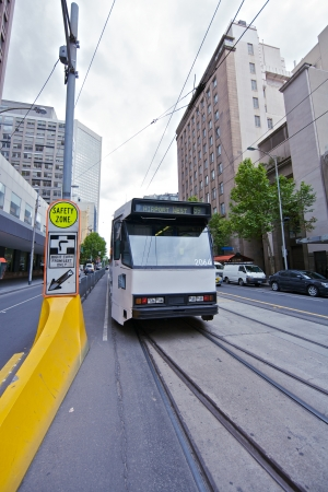 Melbourne tram in city