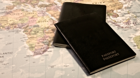 foreign: Blank Passport with the world map