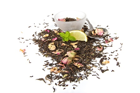Healthy herbal tea with rose petals, isolated