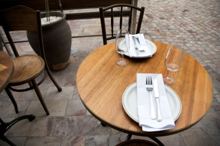 waited: Table set for Lunch at a Cafe Stock Photo