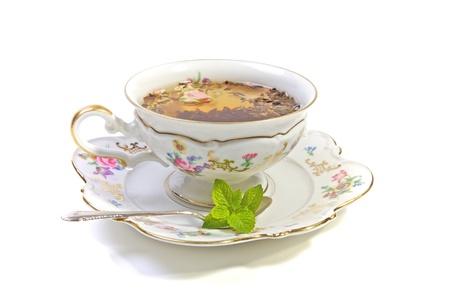 Pretty porcelian cup of tea, High tea  Stock Photo